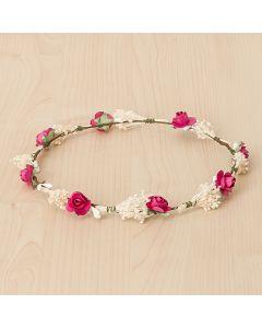 Corona floral con rositas de papel y flor seca