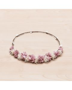 Corona tiara de pequeñas flores tupidas y gypsophila natural