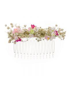Tocado pequeñas flores y paniculata sobre peineta