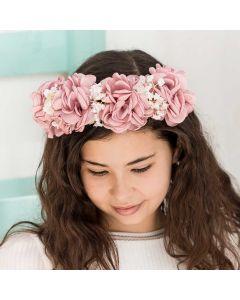 corona para niña de flores grandes en rosa empolvado para ceremonia y comunión