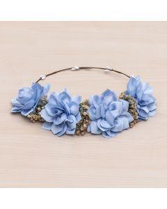 Corona floral de nenúfares Flor 04-Azul Francia