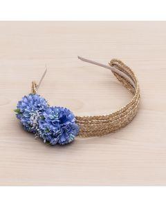Diadema de paja natural con flores y pistilos -Azul Francia