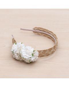 Diadema de paja natural con flores y pistilos -Crudo