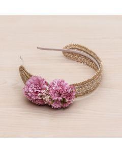 Diadema de paja natural con flores y pistilos -Rosa Francia