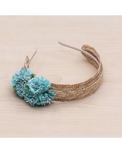 Diadema de paja natural con flores y pistilos -Verde Mar
