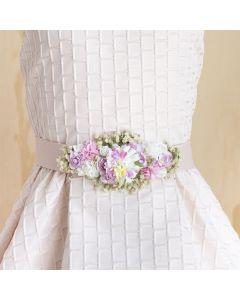 Fajín con tocado de flores y manzanilla Rosa Pastel