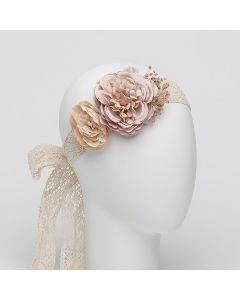 Fajín con cintas de ganchillo y flores grandes con gysophila-Rosa Pastel