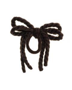 Lazo de cordón de lana en coletero-Marrón