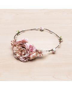 Media corona con gran flor y gysophila Idoia -Rosa Pastel