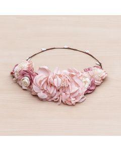 Media corona flores tricolor de satén -Rosa Pastel