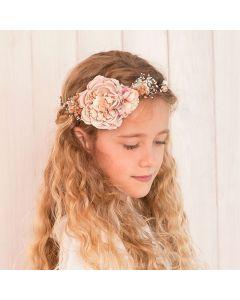media corona con flores rosas niña