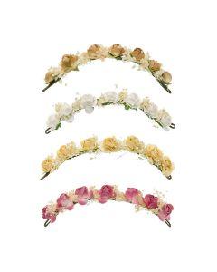 Tocado con pequeñas rosas y flor seca natural