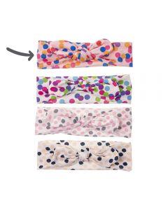 Turbante para bebé con estampado confetti y lazo anudado-Rosa con confetti de colores