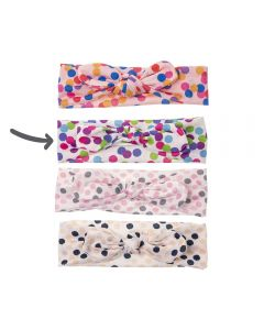 Turbante para bebé con estampado confetti y lazo anudado-Blanco con confetti de colores