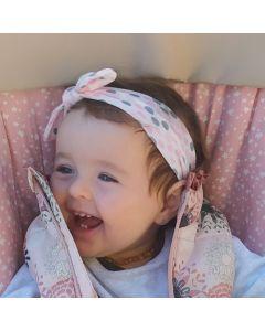 Turbante para bebé con estampado confetti y lazo anudado-Blanco con confetti rosa y gris